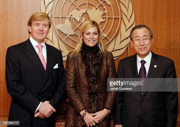 Prince WillemAlexander Prince of Orange and Princess Maxima of the Netherlands meet with United Nations Secretary General Ban Kimoon at the United...