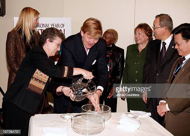 Prince Willem-Alexander, Prince of Orange is flanked by Princess Maxima of the Netherlands, UNICEF Goodwill Ambassador Angelique Kidjo, UNICEF...