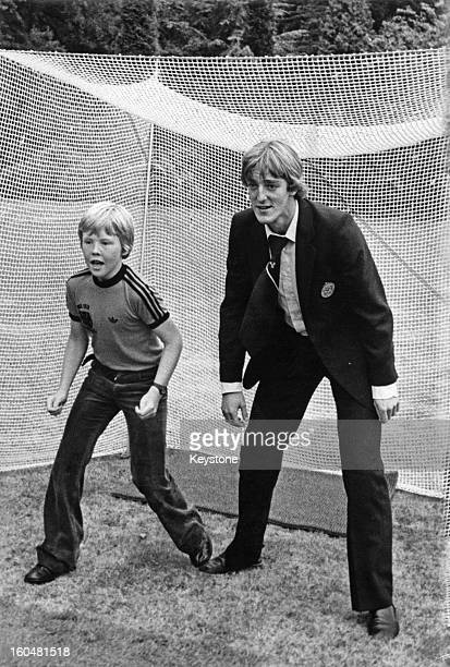 Prince WillemAlexander with defender Piet Wildschut during a reception for the Dutch football team at the Royal Palace 28th June 1978