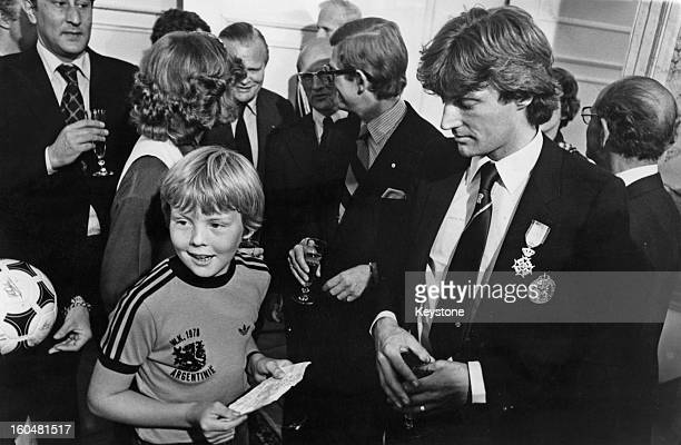 Prince WillemAlexander with defender Ruud Krol during a reception for the Dutch football team at the Royal Palace 28th June 1978