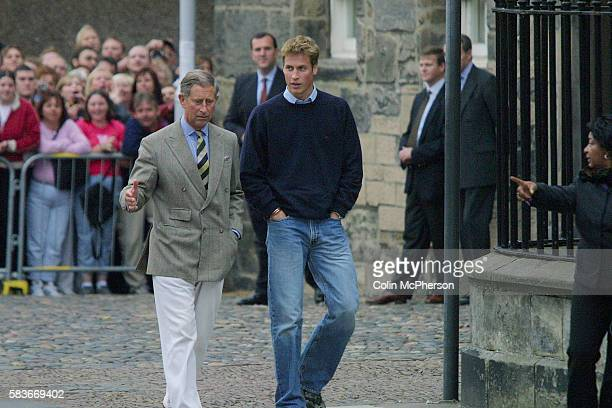 Prince William accompanied by his father Prince Charles greets crowds on arrival at St Andrew's University where the young prince will be studying...