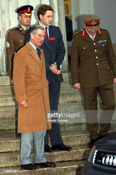 Prince William, accompanied by his father Prince Charles, Prince of Wales, is greeted by Major General Andrew Ritchie when he arrives to join his...