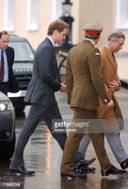 Prince William, accompanied by his father, Prince Charles, Prince of Wales, arrives to join his brother Prince Harry to undertake 44 weeks Army...