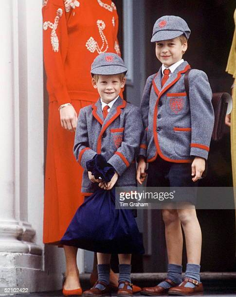 Prince William Accompanies Prince Harry On His First Day At Wetherby School.