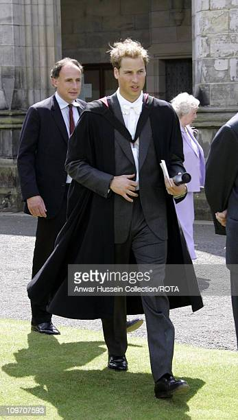 Prince William after his graduation ceremony at St Andrews, Thursday June 23, 2005. William got a 2:1 in geography after four years studying for his...