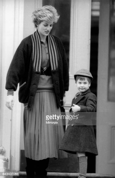 Prince William, aged 4, pictured with mother, Princess Diana, on his first day at Wetherby boys school in London, 15th January 1987, Arriving at the...
