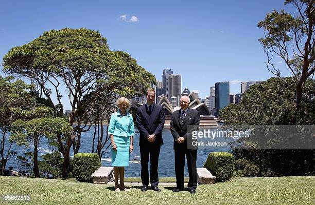 Prince William and Australia's Governor General Her Excellency Ms Quentin Bryce and her husband His Excellency Mr Michael Bryce pose in front of the...
