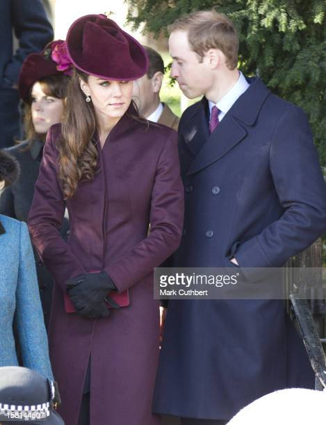 Prince William And Catherine, Duchess Of Cambridge Attend St Mary Magdalene Church, On The Royal Estate In Sandringham, Norfolk For The Christmas Day...
