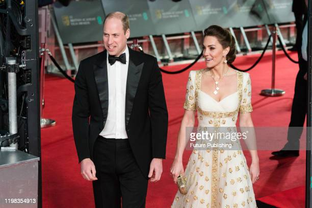 Prince William and Catherine Duchess of Cambridge attend the EE British Academy Film Awards ceremony at the Royal Albert Hall on 02 February 2020 in...