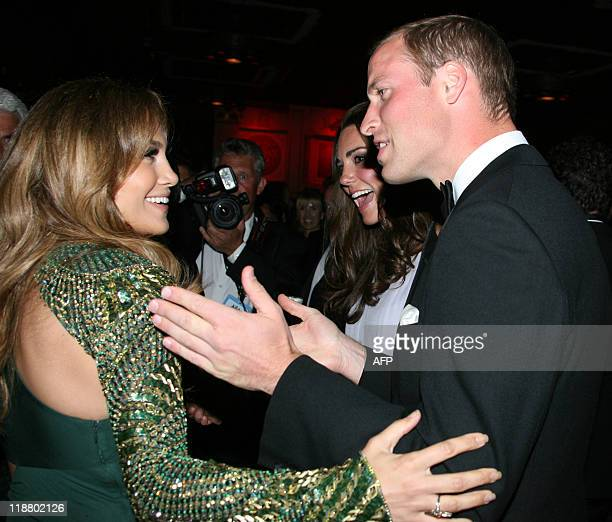 Prince William and Catherine Duchess of Cambridge chat with Jennifer Lopez at the 'BAFTA Brits to Watch' event at the Belasco Theatre in Los Angeles...