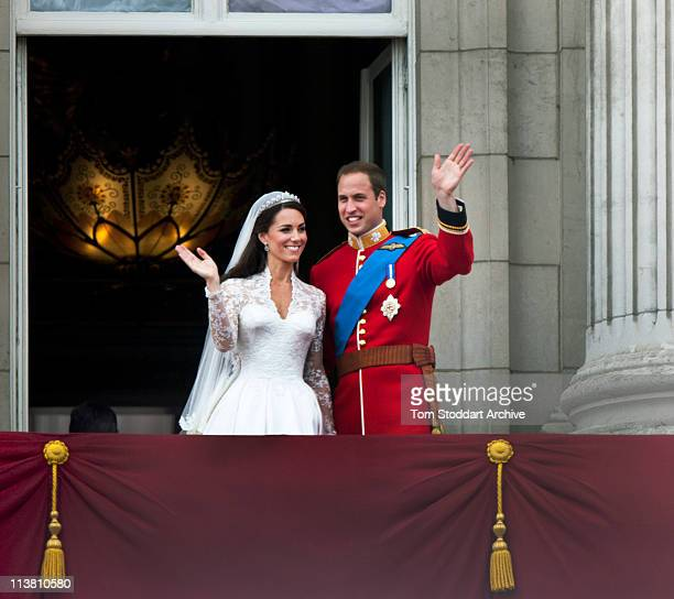 Prince William and Catherine, Duchess of Cambridge greet well-wishers from the balcony at Buckingham Palace after their wedding, London, 29th April...