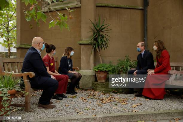 Prince William and Catherine Duchess of Cambridge meet medical staff from left Head of Pharmacy Sotiris Antoniou Respiratory Physio Isobel Fale and...