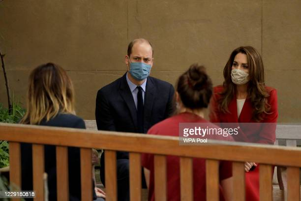 Prince William and Catherine Duchess of Cambridge meet medical staff Respiratory Physio Isobel Fale second right and Medical Oncology Trainee and...