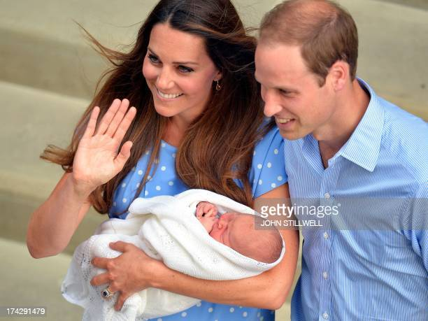 Prince William and Catherine Duchess of Cambridge show their newborn baby boy to the world's media outside the Lindo Wing of St Mary's Hospital in...