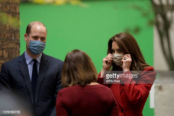 Prince William and Catherine Duchess of Cambridge speak to Alwen Williams the Group Chief Executive Officer of Barts Health NHS Trust as they are...