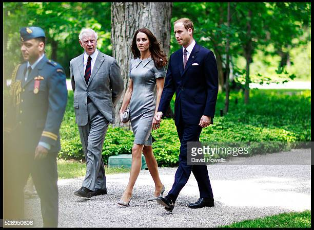 Prince William and Catherine, Duchess of Cambridge with Canada's Governor General, David Johnston, plant an Eastern Hemlock tree at the Royal Grove...