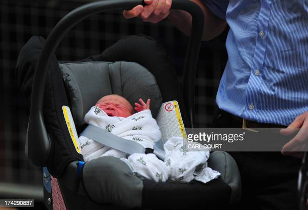 Prince William and Catherine Duchess of Cambridge's newborn baby boy is introduced to the world's media outside the Lindo Wing of St Mary's Hospital...