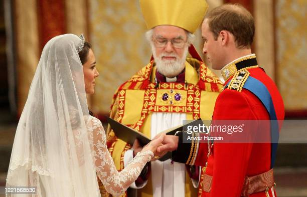 Prince William and Catherine Middleton are married by the Archbishop of Canterbury at Westminster Abbey on April 29 2011 in London England