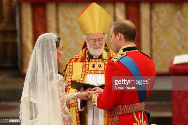 Prince William and Catherine Middleton are married by the Archbishop of Canterbury at Westminster Abbey on April 29, 2011 in London, England.