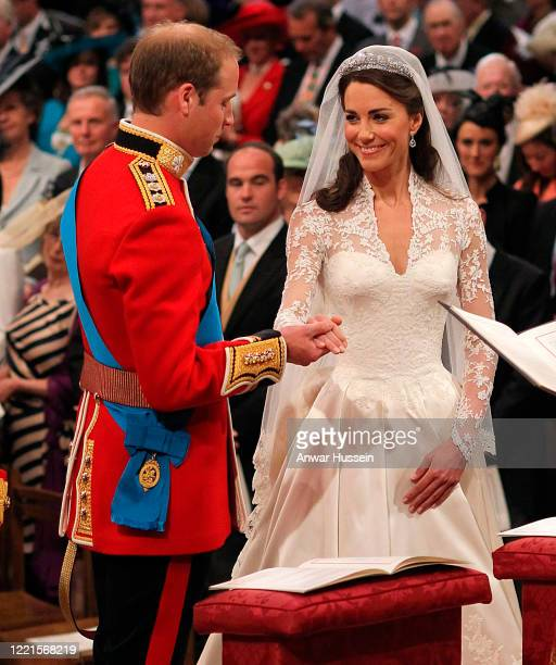 Prince William and Catherine Middleton exchange vows during their Royal Wedding at Westminster Abbey on April 29, 2011 in London, England.