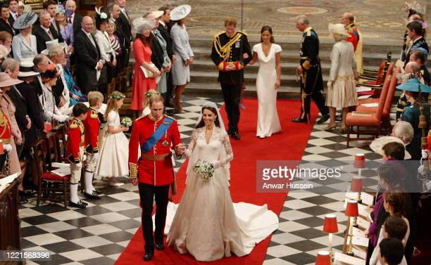 Prince William and Catherine Middleton, followed by best man Prince Harry and Maid of Honour Pippa Middleton and members of the Royal Family, leave...