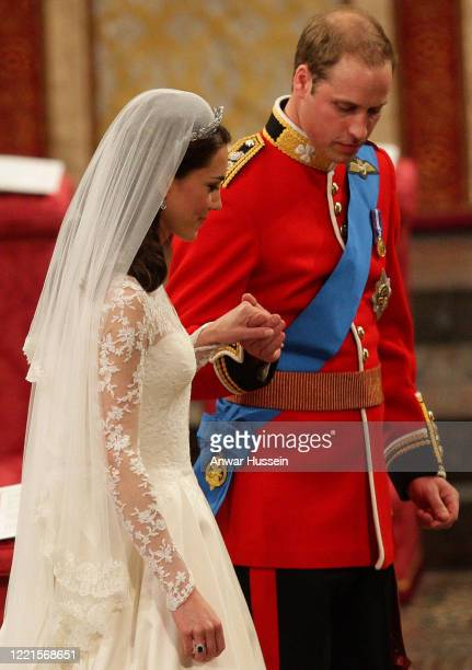Prince William and Catherine Middleton leave Westminster Abbey following their Royal Wedding on April 29 2011 in London England