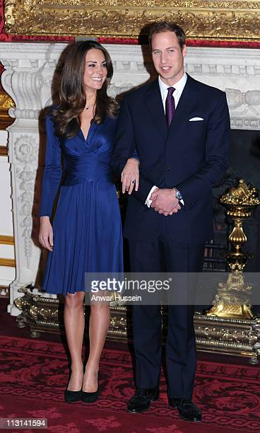Prince William and Catherine Middleton pose for photographs in the State Apartments of St James Palace as they announce their engagement on November...