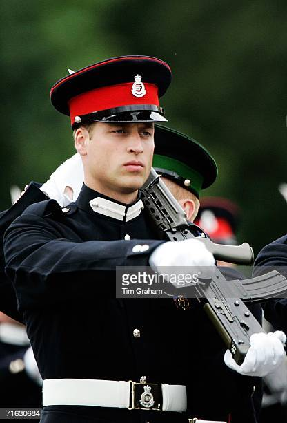 Prince William and fellow cadets hold an army issue SA80 riffle whilst taking part in a Passing Out Parade at Sandhurst Military Academy on August 11...