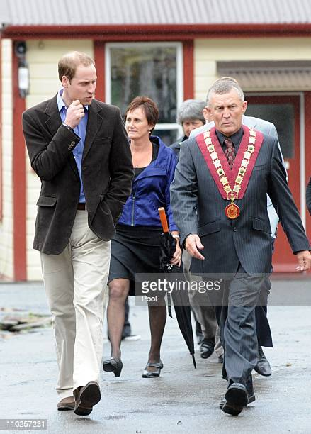Prince William and Grey District Mayor Tony Kokshoorn arrive at Shanty Town to meet with families of the 29 men killed in the Pike River Coal mine...