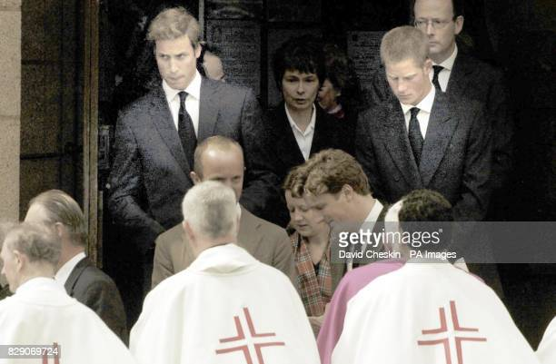 Prince William and Harry leave the funeral of Frances Shand Kydd held in St Columba's Cathedral Oban Scotland