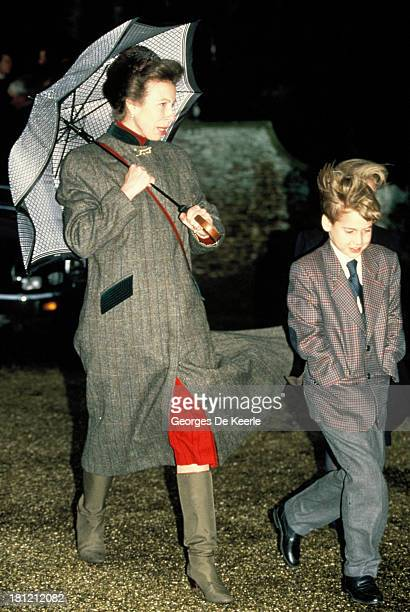 Prince William and his aunt Princess Anne attend the Royal Christmas Service at Sandringham Church on December 25, 1990 in Sandringham, England.