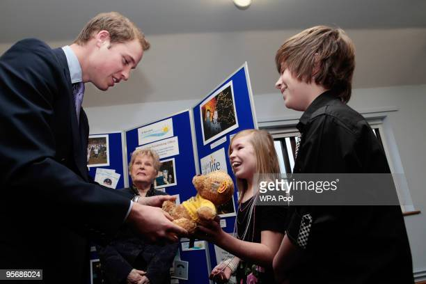 Prince William and his aunt Sarah McCorquodale visit St Barnabas Hospice Day Care Centre on January 11 2010 in Lincoln England Prince William gets a...