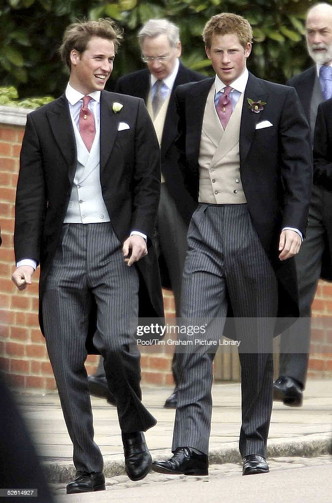 Prince William (L) and his brother Prince Harry arrive for the Service of Prayer and Dedication blessing the marriage of their father, TRH Prince Charles, the Prince of Wales and Camilla, the Duchess Of Cornwall, at The Guildhall, at Windsor Castle on April 9, 2005 in Berkshire, England.