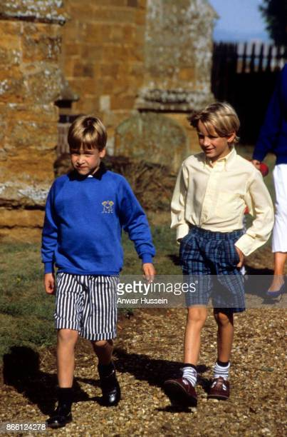 Prince William and his cousin Alexander Fellowes attend the rehearsal for the wedding of Charles Viscount Althorp on November 30 1987 in Great...