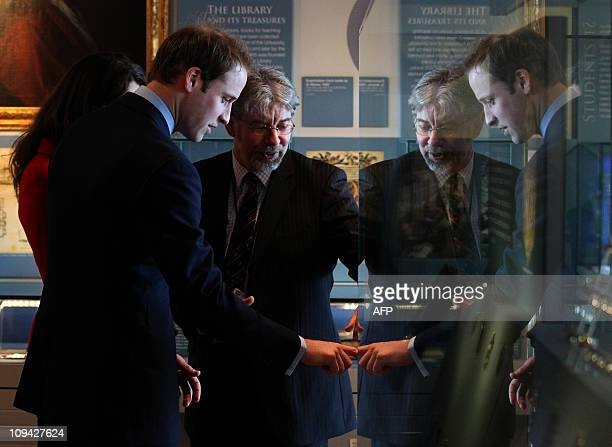 Prince William and his fiancee Kate Middleton visit St Andrews museum during a tour of the University of St Andrews in Scotland on February 25 2011...