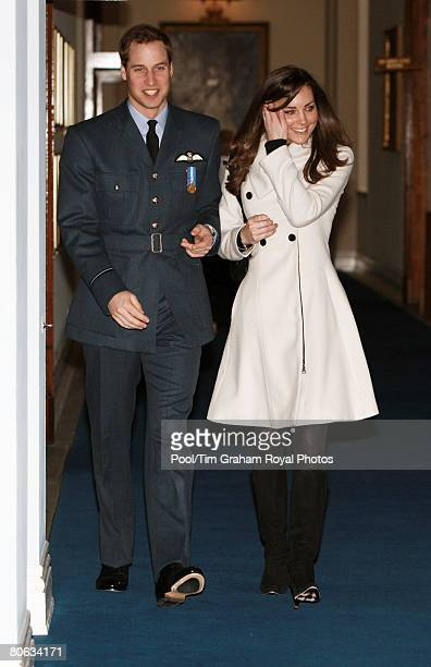 Prince William and his girlfriend Kate Middleton arrive at the Central Flying School at RAF Cranwell where Prince William received his RAF wings in a...