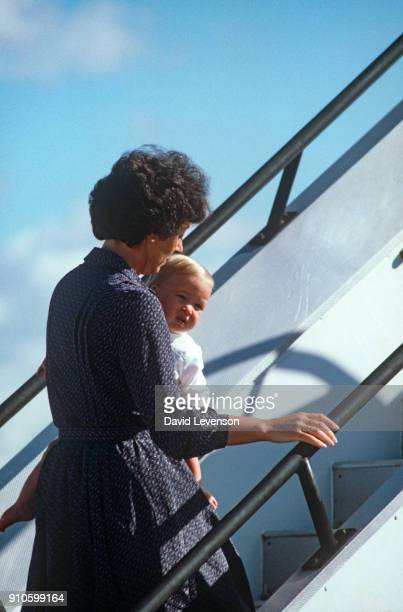 Prince William and his nanny Barbara Barnes arrive in Alice Springs Australia on March 201983 at the start of their Royal Tour