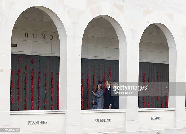 Prince William and his wife Catherine walk along the poppy flowerlined WWI Wall of Remembrance with Ken Doolan National President of Australia's...