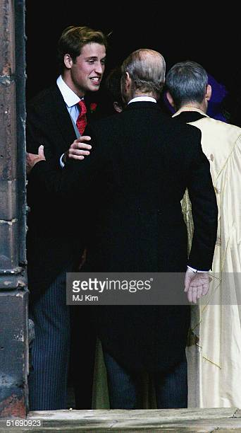 Prince William and HRH Duke of Edinburgh attend the wedding of Ed Van Cutsem and Lady Tamara Grosvenor at Chester Cathedral on November 6 2004 in...
