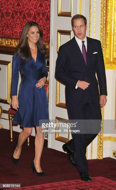 Prince William and Kate Middleton, arrive for a photocall in the State Apartments of St James's Palace, London to mark their engagement.
