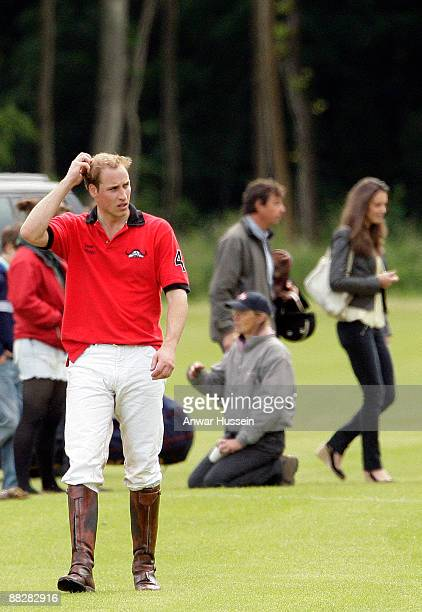 Prince William and Kate Middleton attend a charity polo match at Cirencester Park Polo Club on June 7 2009 in Cirencester England