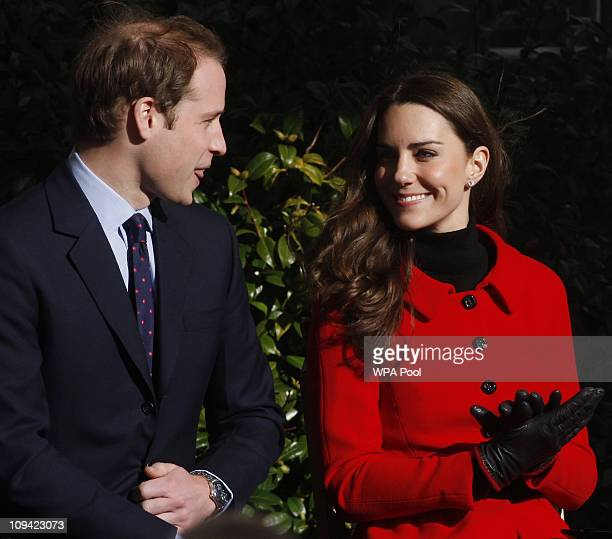 Prince William and Kate Middleton during a visit to the University of St Andrews on February 25 2011 in St Andrews Scotland The couple returned to...