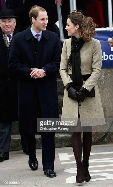 Prince William and Kate Middleton greet the crowds after officially launching the new RNLI's lifeboat 'Hereford Endeavour' at Trearddur Bay Anglesey...