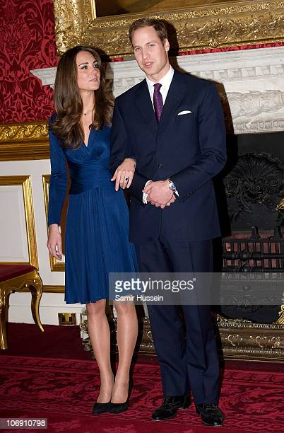 Prince William and Kate Middleton officially announce their engagement at St James's Palace on November 16 2010 in London England After much...