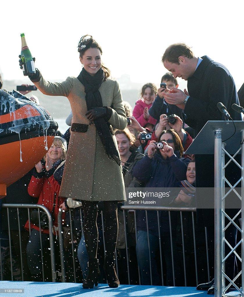 Prince William and Miss Catherine Middleton visit Trearddur Bay RNLI Lifeboat Station : News Photo