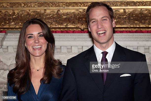 Prince William and Kate Middleton pose for photographs in the State Apartments of St James Palace on November 16, 2010 in London, England. After much...