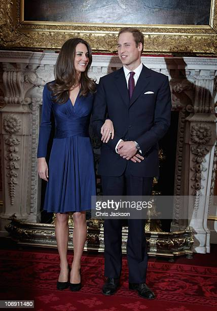 Prince William and Kate Middleton pose for photographs in the State Apartments of St James Palace on November 16 2010 in London England After much...