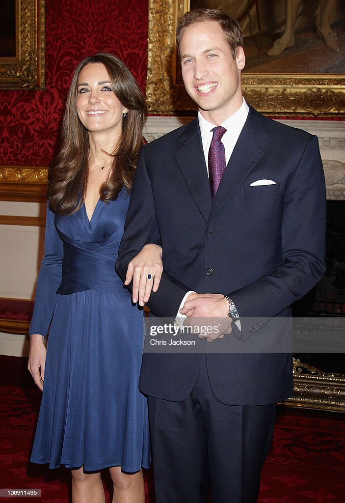 Prince William and Kate Middleton pose for photographs in the State Apartments of St James Palace on November 16, 2010 in London, England. After much speculation, Clarence House today announced the engagement of Prince William to Kate Middleton. The couple will get married in either the Spring or Summer of next year and continue to live in North Wales while Prince William works as an air sea rescue pilot for the RAF. The couple became engaged during a recent holiday in Kenya having been together for eight years.