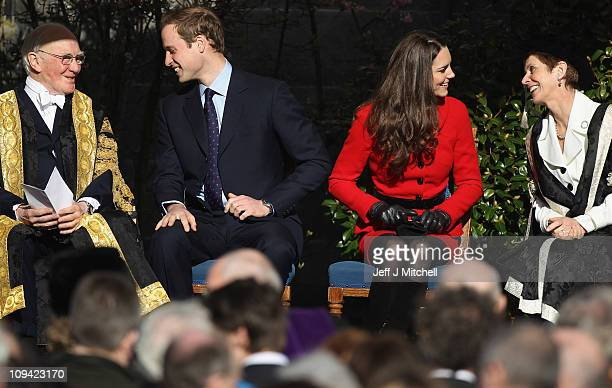 Prince William and Kate Middleton sit with Sir Menzies Cambell Chancellor of the University of St Andrews during visit the University of St Andrews...