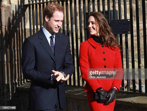 Prince William and Kate Middleton smile as they visit the University of St Andrews on February 25, 2011 in St Andrews, Scotland. The couple returned...